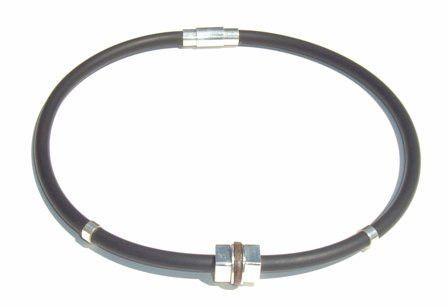 Masccio Rubber & Silver & Coconut Wood Necklace