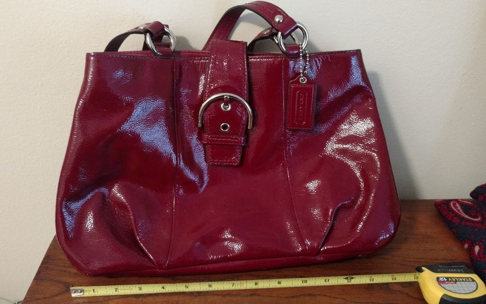 Coach Blood Red Crimson Patent Leather Handbag Satchel
