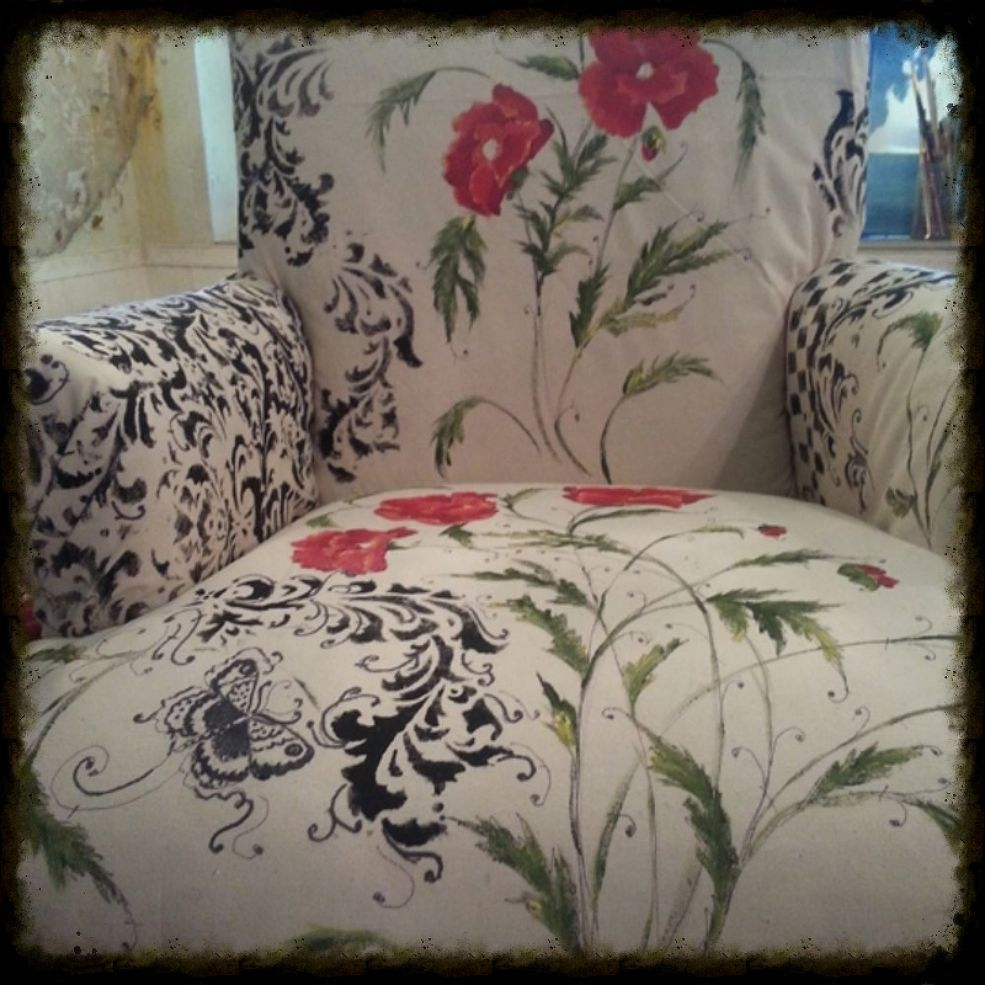 Floral Hand Painted Fabric Chair Chairs French And Furniture