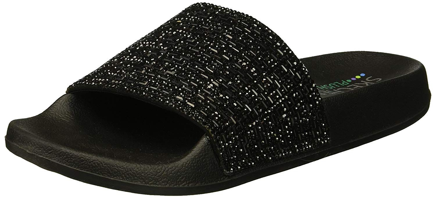 efa0877dba0b Skechers Women s Pops up-Summer Rush-Rhinestone Shower Slide Sandal ...
