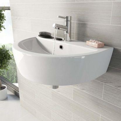 Mode Tate 1 Tap Hole Wall Hung Basin 550mm Wall Mounted Basins Bathroom Wash Stands Pedestal Basin