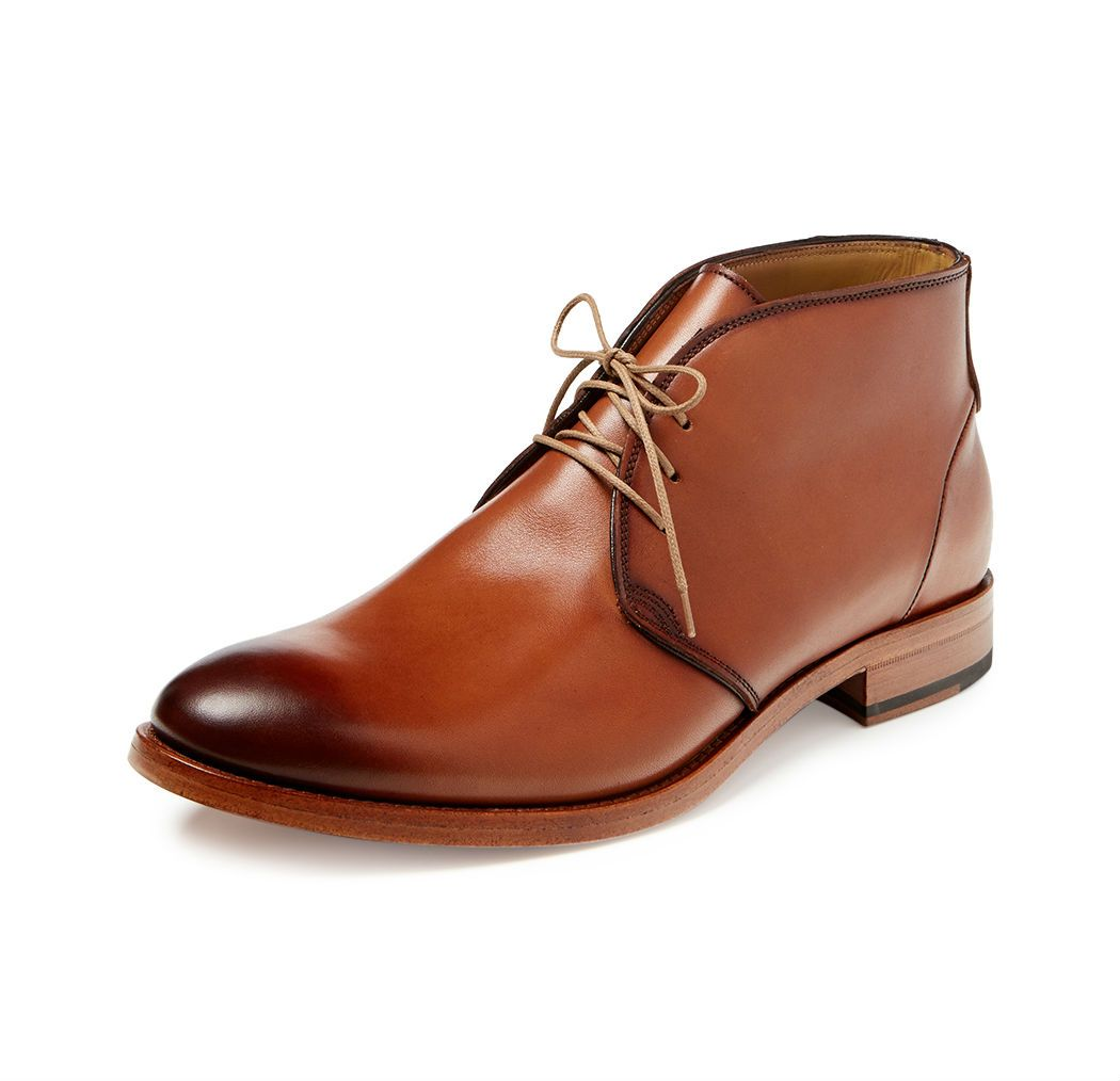 Brown leather men's chukka boots with burnished toe from Antonio ...