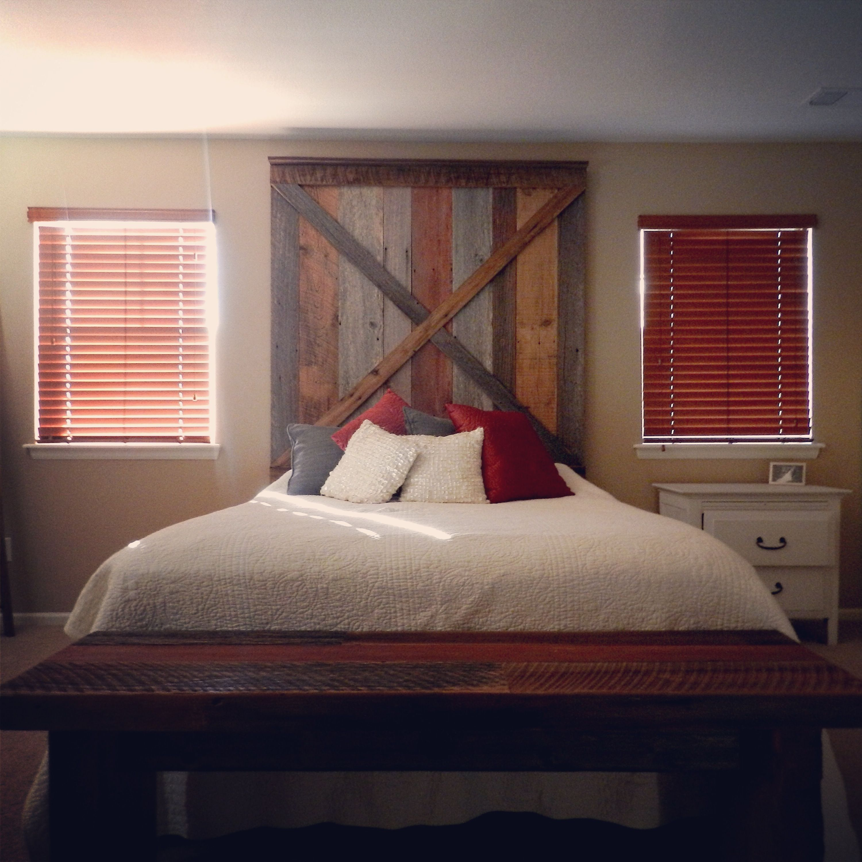Barn wood headboard and bench