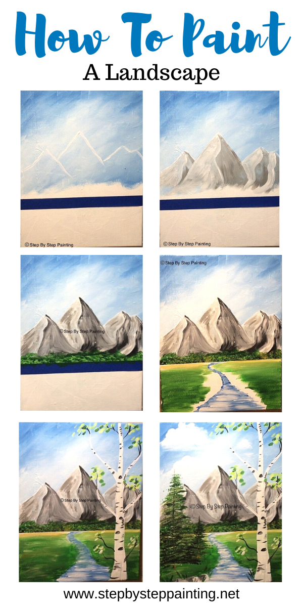 How To Paint Mountains With Acrylics : paint, mountains, acrylics, Paint, Landscape, Online, Acrylic, Painting, Tutorial, Lesson,, Painting,, Lessons
