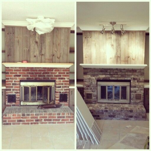 Before and after. Fireplace upgrade with paint! Refinished bricks ...