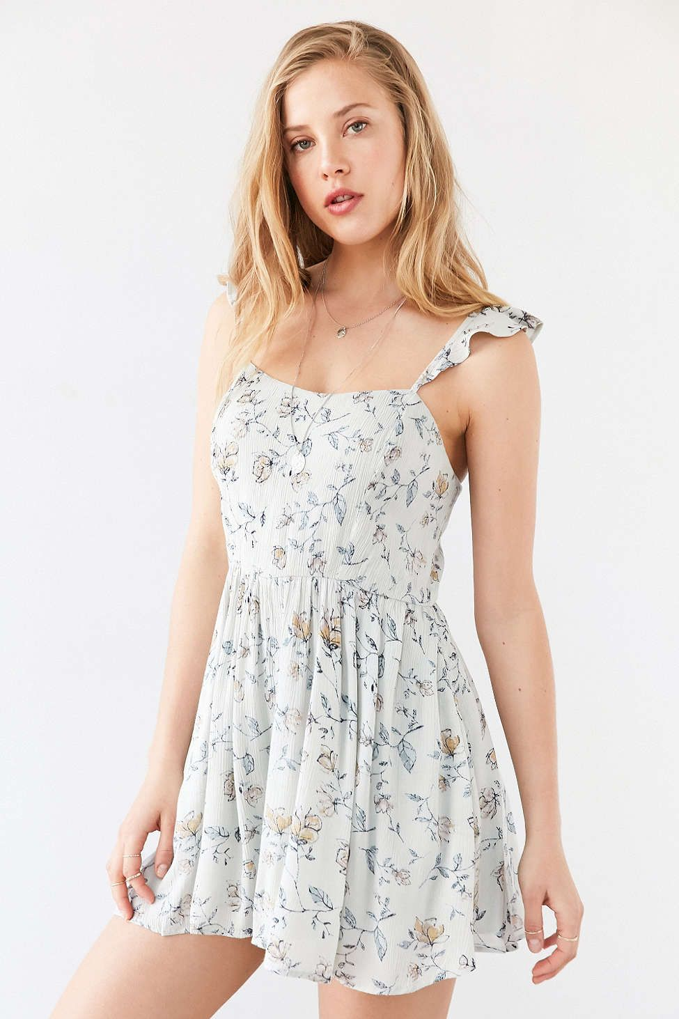88a85d9ae536 Kimchi Blue Petunia Gauze Flutter-Sleeve Romper from Urban Outfitters