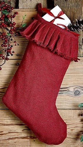 "Burlap Red Ruffled Stocking 11x15"""