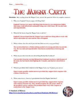 Magna Carta Common Core Reading Worksheet Secondary Social Studies