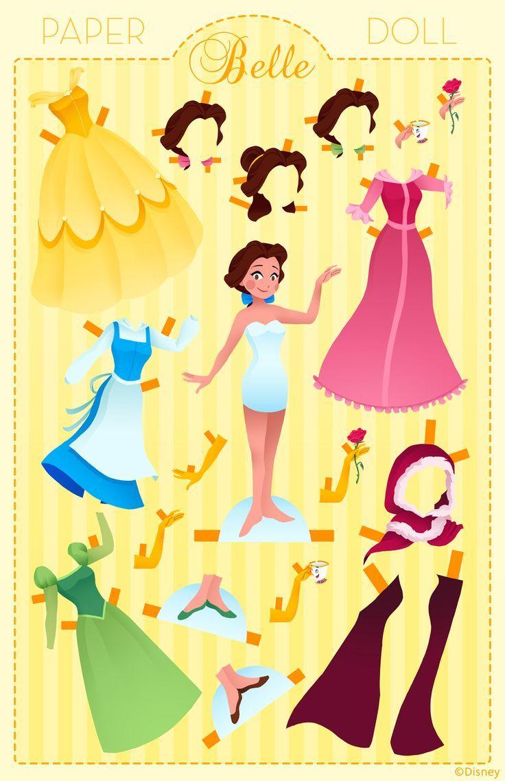 d12d60e216dc72 Paper Doll  Belle Disney Puppen