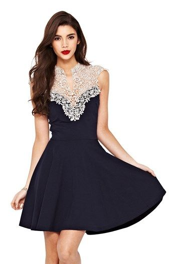 Ax paris black lace panel collared dress for women