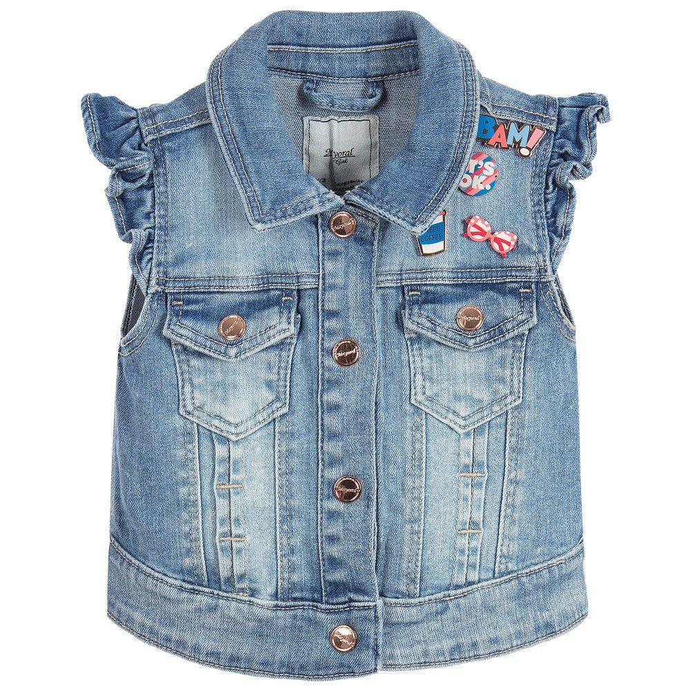 Mayoral Girls Denim Sleeveless Jacket At Childrensalon Com Jean Jacket For Girls Kids Outfits Girls Denim [ 1000 x 1000 Pixel ]