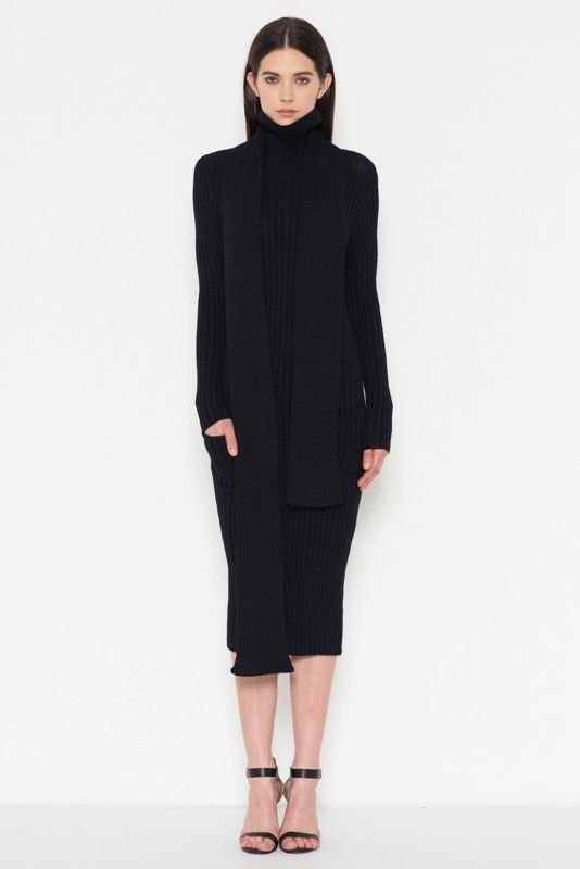 4a92f0fd0f LONG TURTLENECK SWEATER DRESS WITH TWO FRONT POCKETS AND LONG SCARF ADDITION