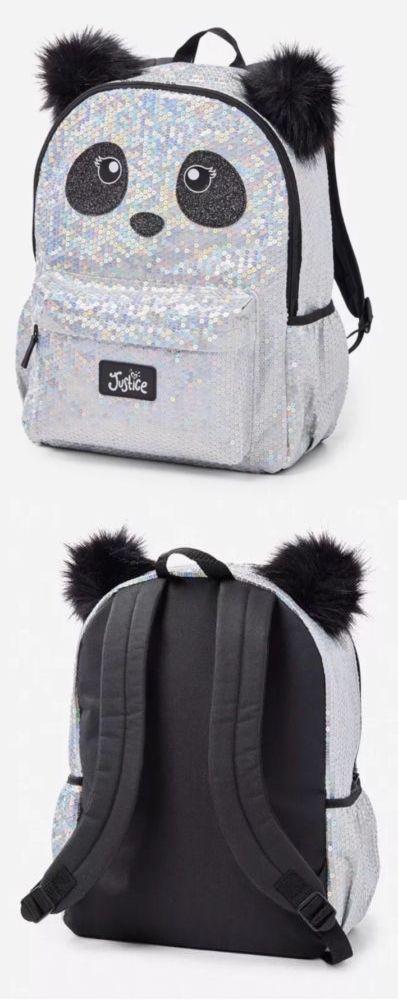 Backpacks 57917 Justice Sparkling Glitter Panda Backpack