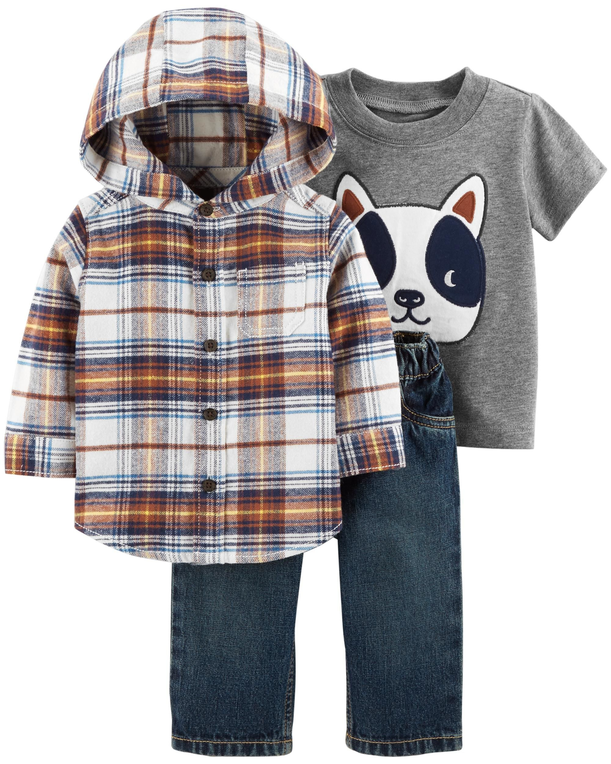 fb7ec35db Baby Boy 3-Piece Button-Front Flannel   Jean Set