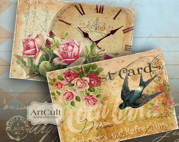4 Printable Images VICTORIAN NOSTALGIA Digital Collage Sheet Greeting Cards Scrapbooking decoupage print-it-yourself vintage Paper ArtCult