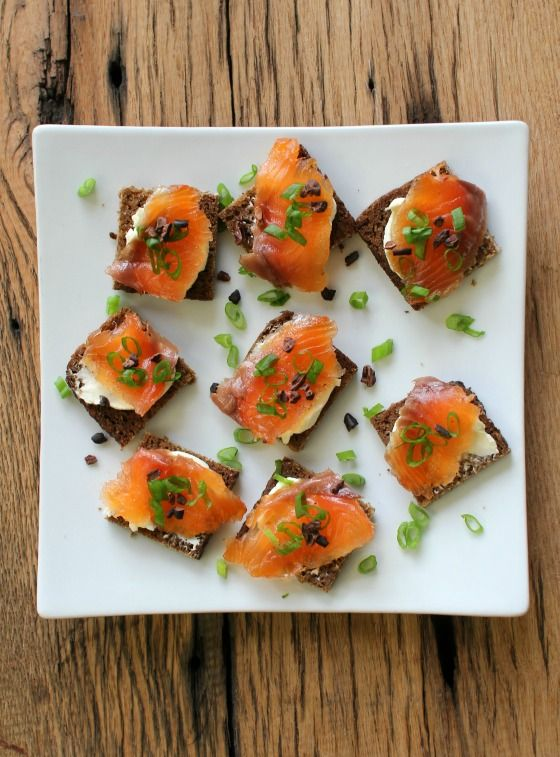 Homemade Cacao Nib & Thyme Gravlax. Use as a topper on pretty canapés, with pumpernickel bread and cream cheese!