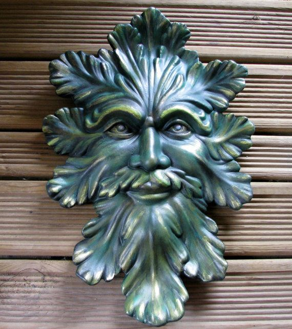 Ceramic Green Man Wall Hanging 14 Inches Hand Painted Etsy Green Man Sculpture Green Man Sculpture