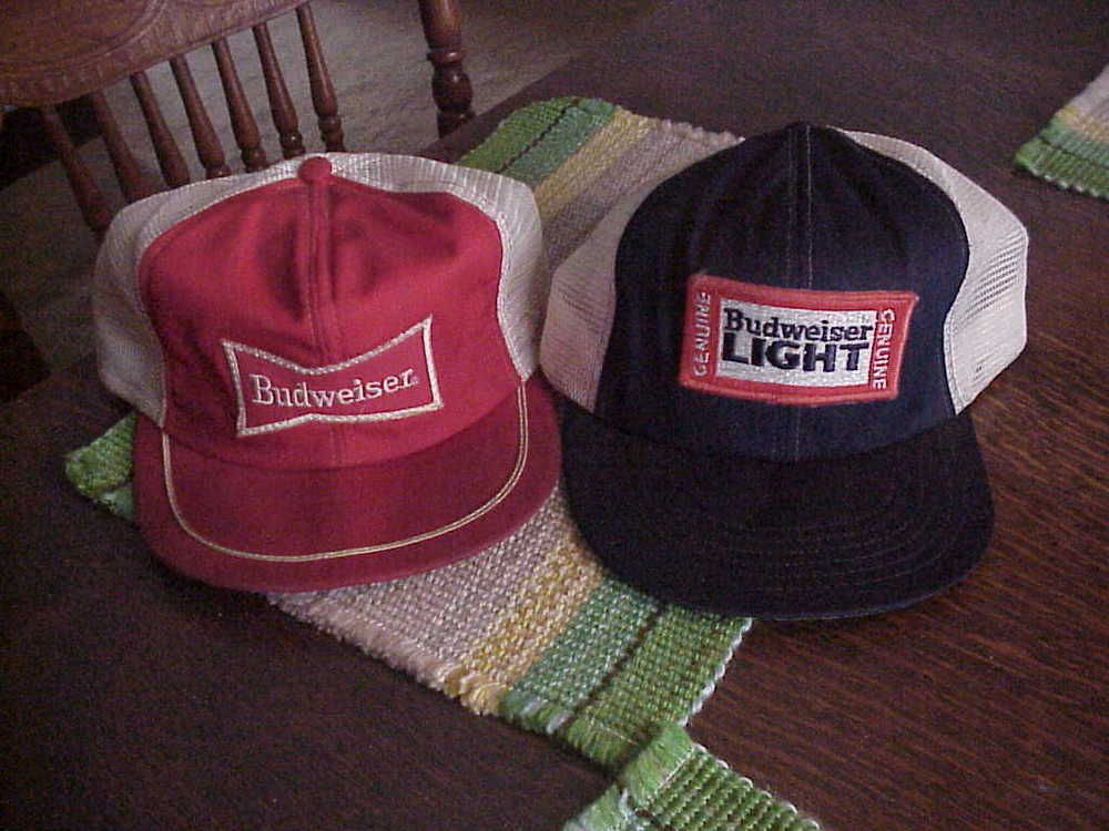 208fd38029644 2 VINTAGE BUDWEISER   BUD LIGHT PATCH MESH SNAPBACK HATS FARMER TRUCKER OLD   fashion