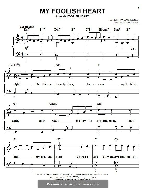 My Foolish Heart: For easy piano by Victor Young | Music I Love (+ ...