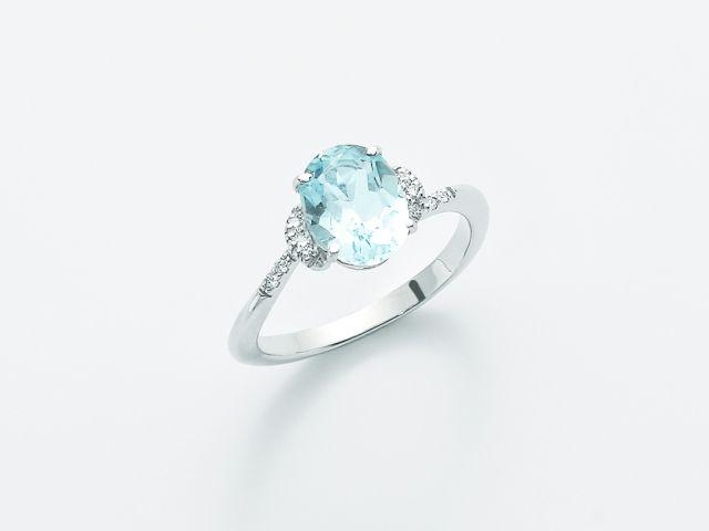 Anello Miluna In Oro Bianco Con Topazio Azzurro E Diamanti 0 05ct Lid2791x Anello Con Topazio Oro Bianco Gioielli
