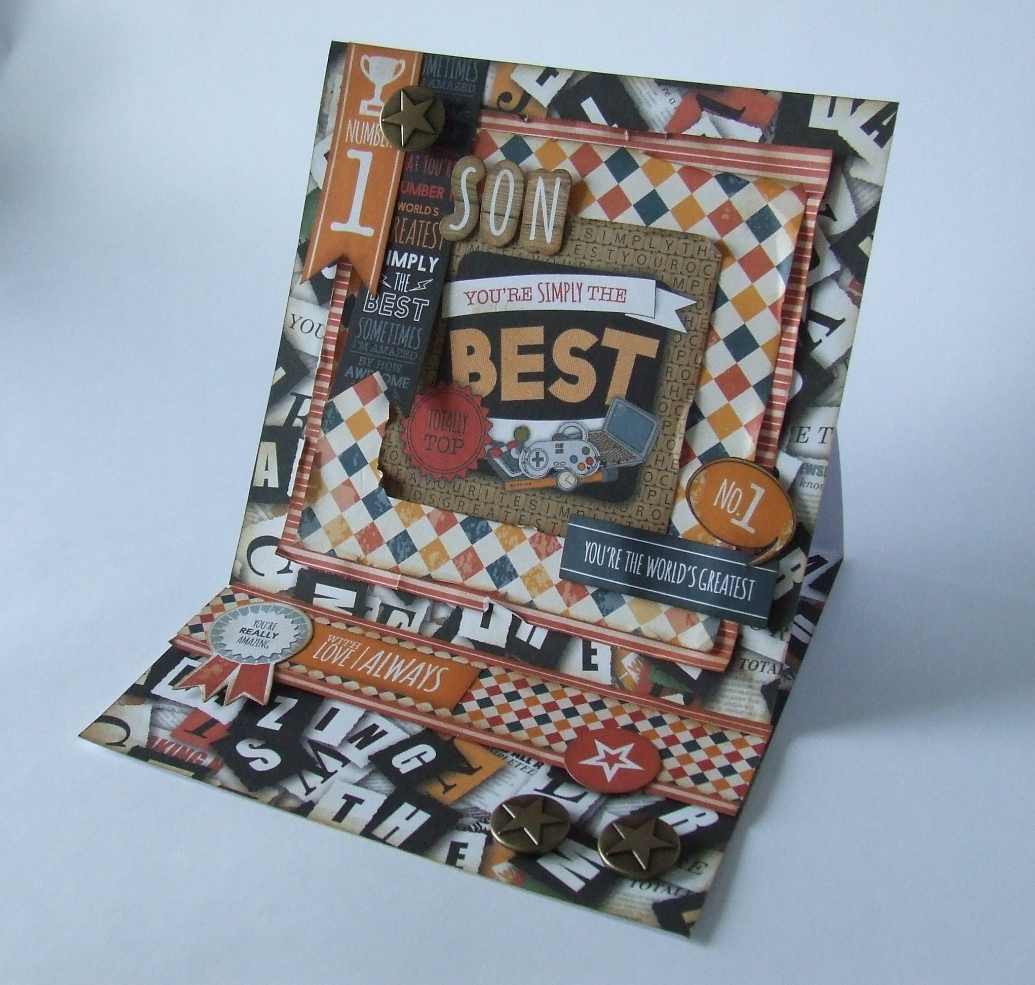 Used the Mr Mister Collection released 1st May to create this easel card.