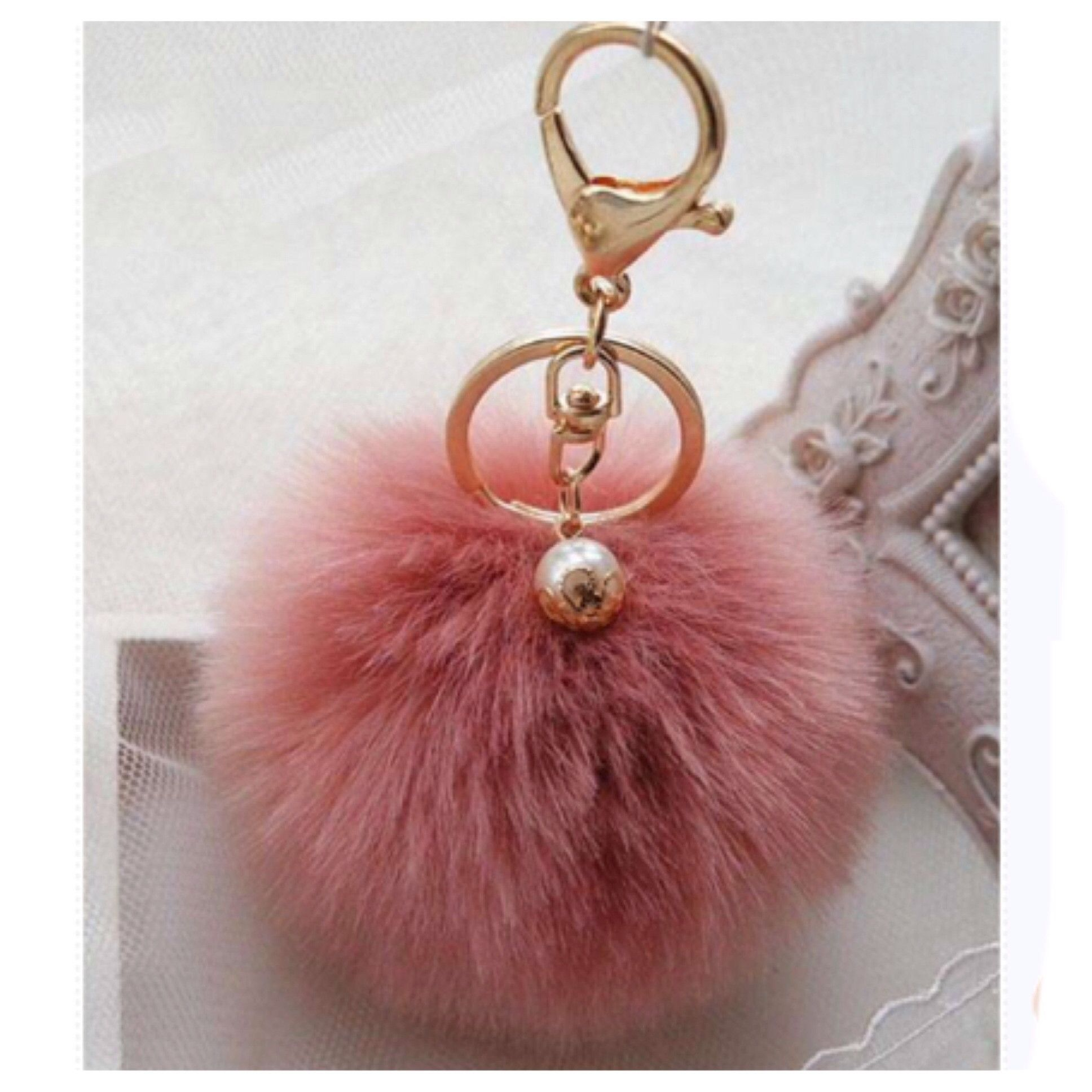 Absolutely Adorable and Fun Accessory! Dusty Pink Fur Pom Pom Keychain,  Purse Charm 8cm