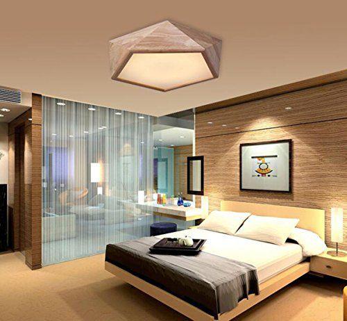 AYAYA-Holzlampe-Led-Deckenleuchte-Geometrie-Holz-Protokolle - schlafzimmer lampe led