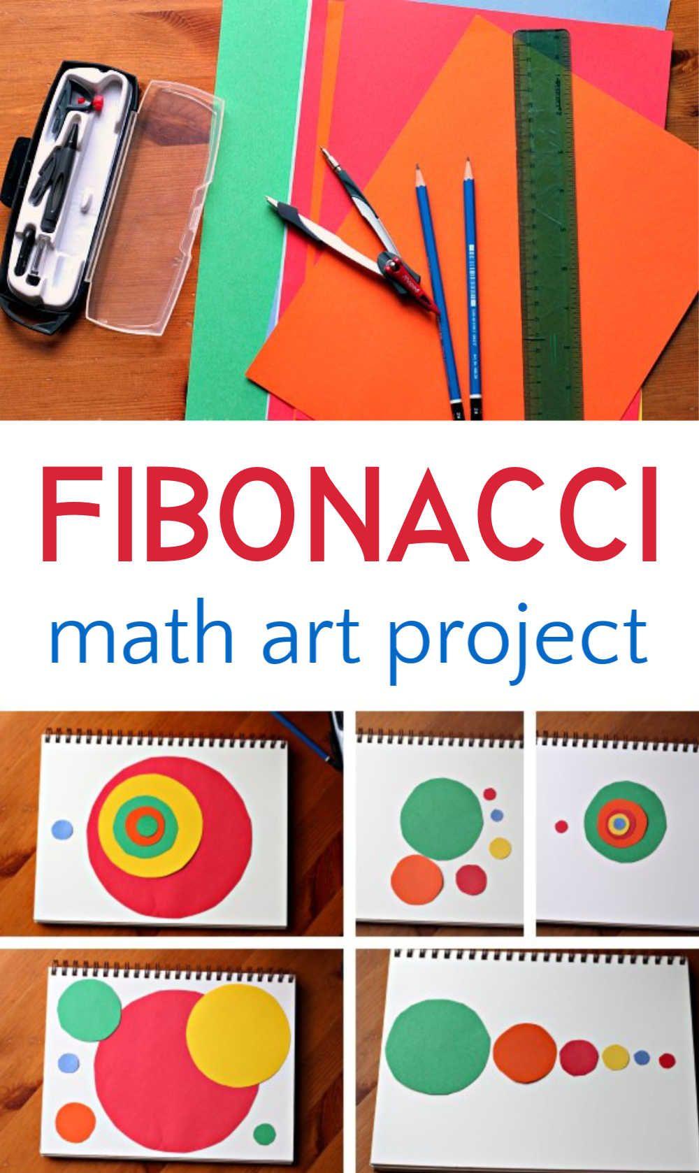Cool fibonacci art project for exploring the intersection between math and art, and the golden spiral. #mathart #artproject