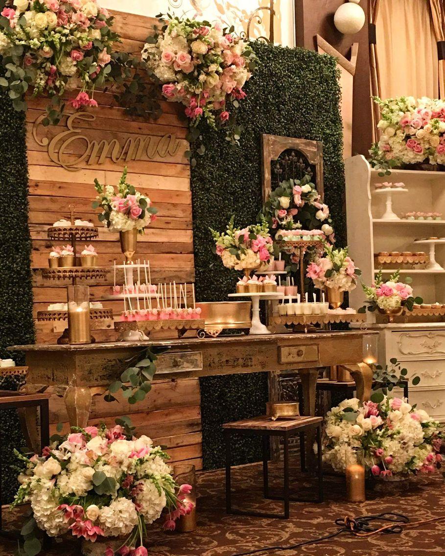 Angie elma aniversario anaju pinterest mesas mesa for Decoracion rustica campestre