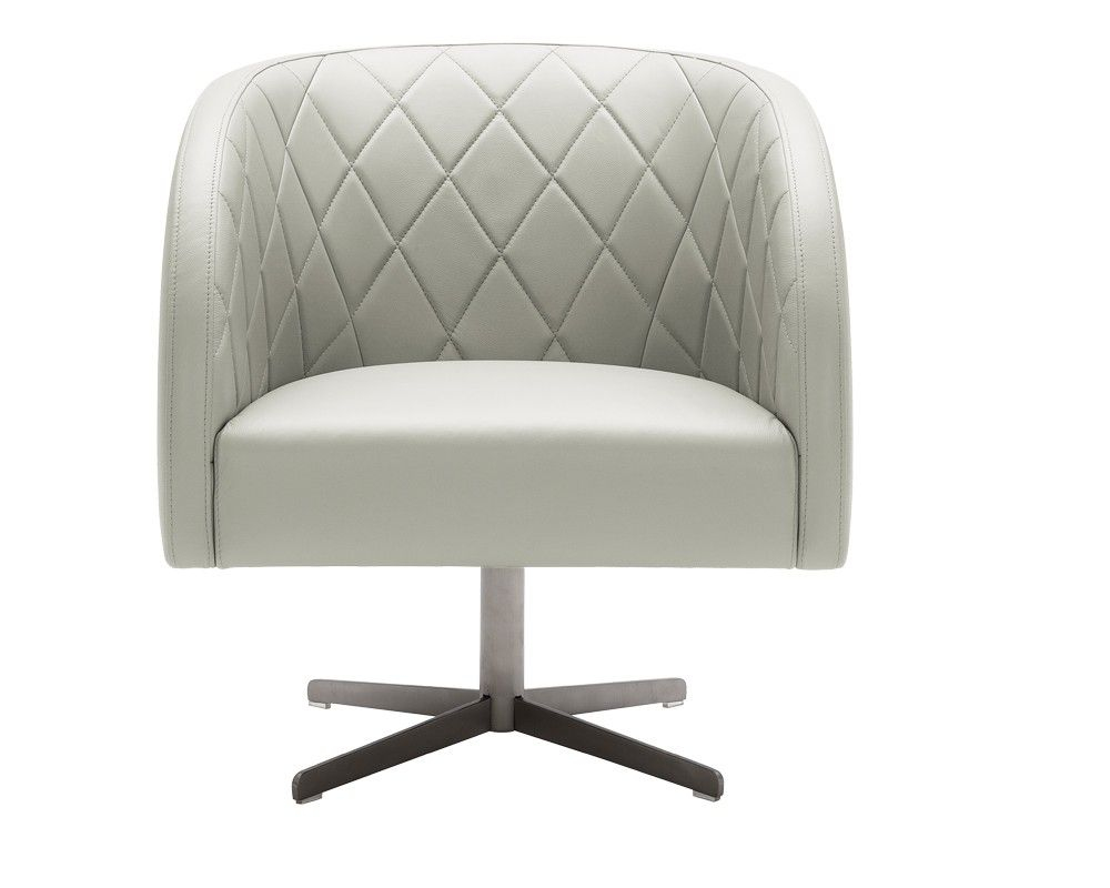 BOULEVARD SWIVEL ARMCHAIR   GREY LEATHER   This exceptionally comfortable swivel chair features a stunning diamond stitched pattern on the seat back and a brushed stainless steel base. Stocked in 100% top grain leather in grey and white.