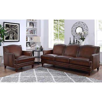 Best Caterina 2 Piece Top Grain Leather Set Sofa Chair 640 x 480