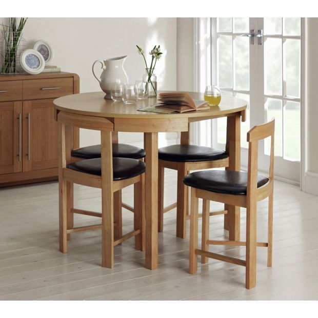 Home Alena Circular Solid Wood Table & 4 Chairs