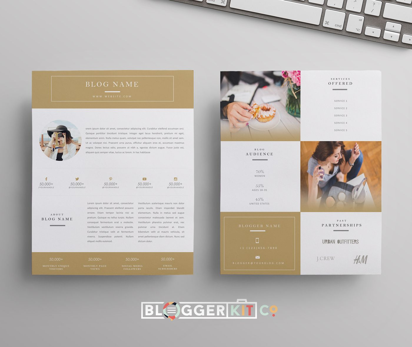 Gold Beauty Blogger Media Kit Template, compatible with Microsoft ...
