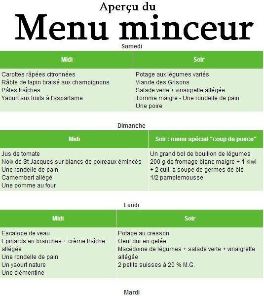 recette menu minceur semaine
