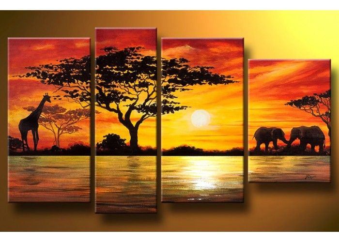 African Painting 157 - 52 x 30in I love this idea! Multiple Canvas ...