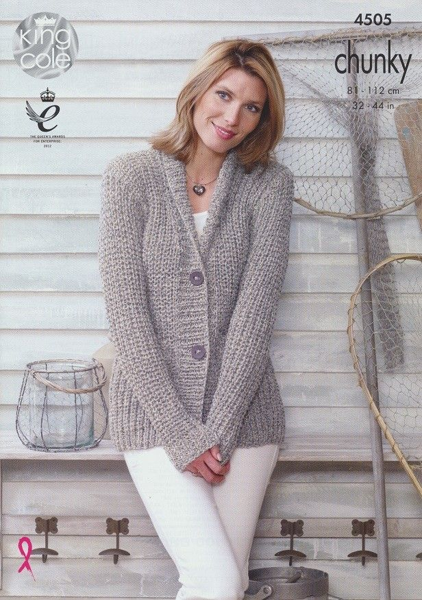 Knitting Pattern Gilet Aran : Jacket and Gilet in King Cole Authentic Chunky (4505) Chunky Knitting Patte...