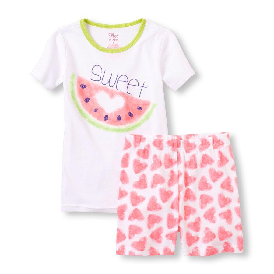 ab7168363e4b Girls Short Sleeve  Sweet  Watermelon Pajama set