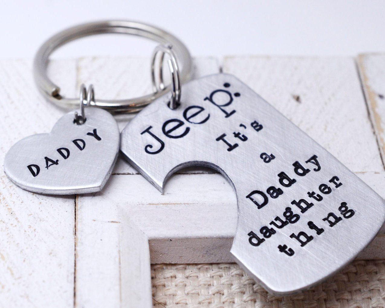 Father daughter keychain personalized fathers day gift