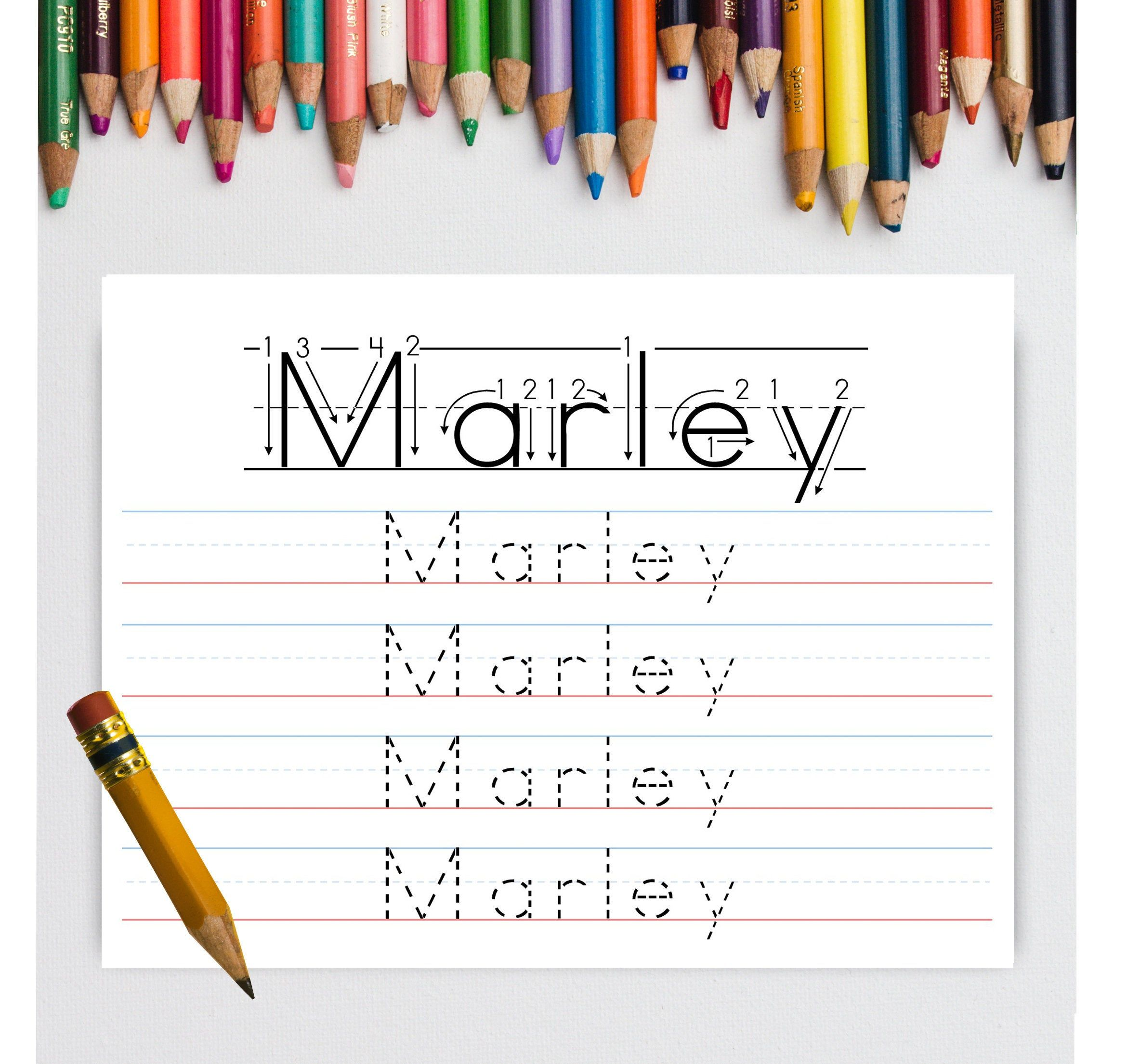 Kids Name Tracing Worksheet Personalized Writing First
