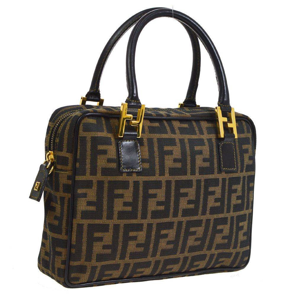 Auth FENDI Zucca Pattern Hand Bag Brown Black Canvas Leather Vintage ... da842564bbde0