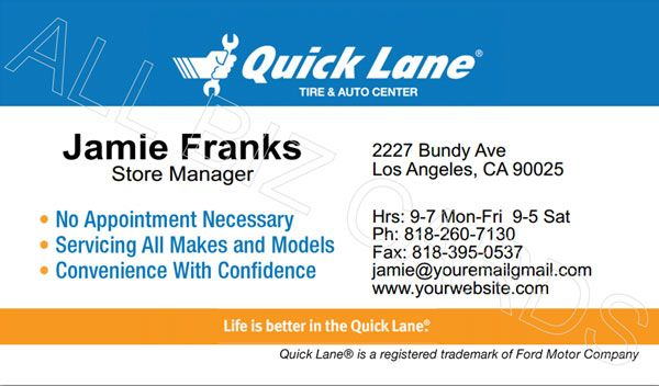 2012 Ford Quick Lane Business Card Id 20273 Ford Business