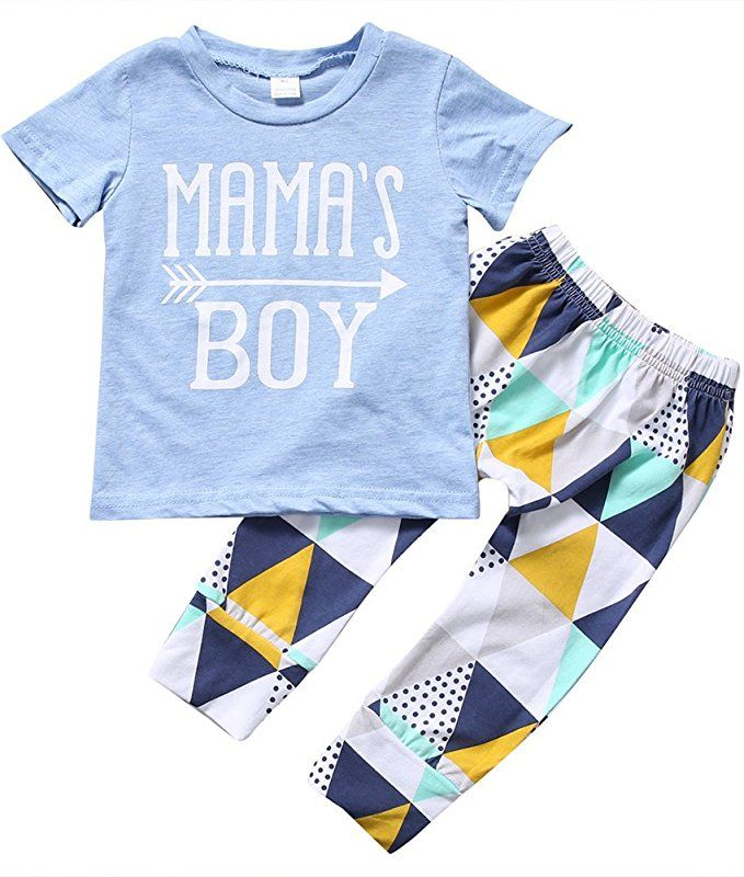3a0e43dad78c Zekky Baby Boy Mama s boy Short Sleeve Top+Pants Outfit Suit Set (0 ...