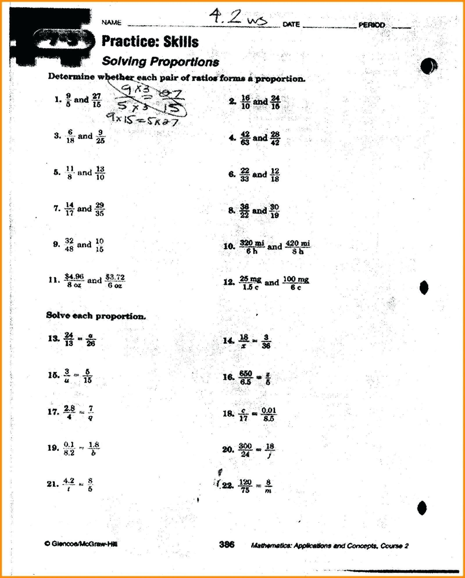 Ratio And Proportion Worksheet 41 Simple Ratio