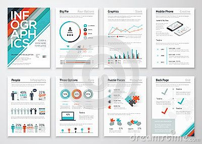 infographic flyer and brochure elements for business data, Powerpoint templates