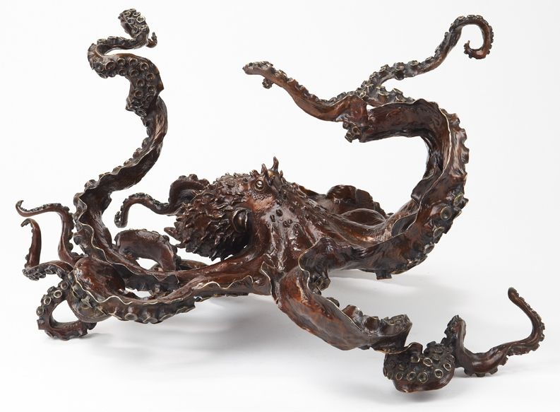 "Kirk McGuire's 'Cephalopod'  Limited edition bronze of 20 - Year released - 2011 - Bronze octopus sculpture dimensions: 16"" H x 23"" W x 33"" L"