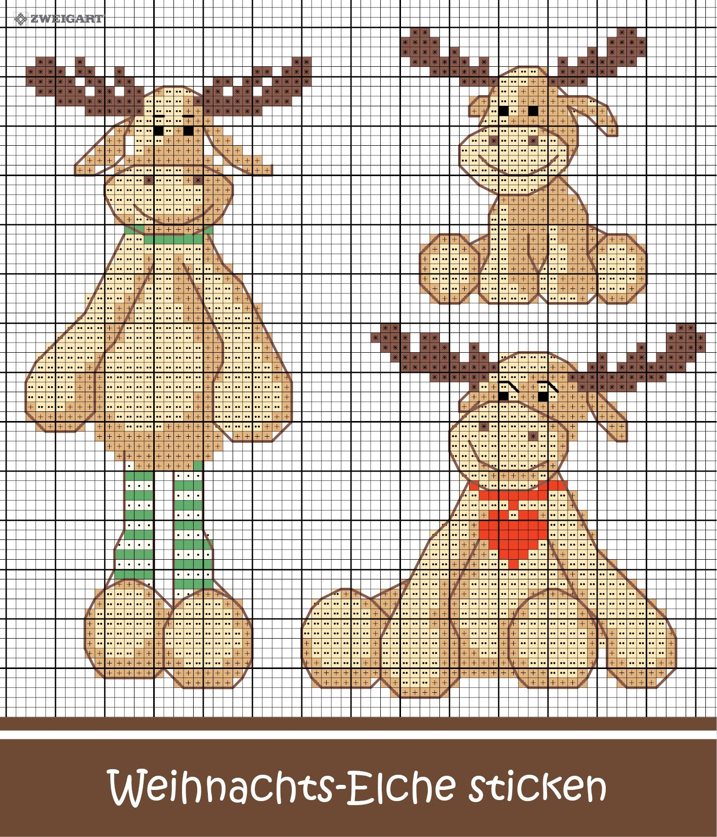 Photo of Embroidering cute moose for Christmas – Discover numerous free embroidery charts!