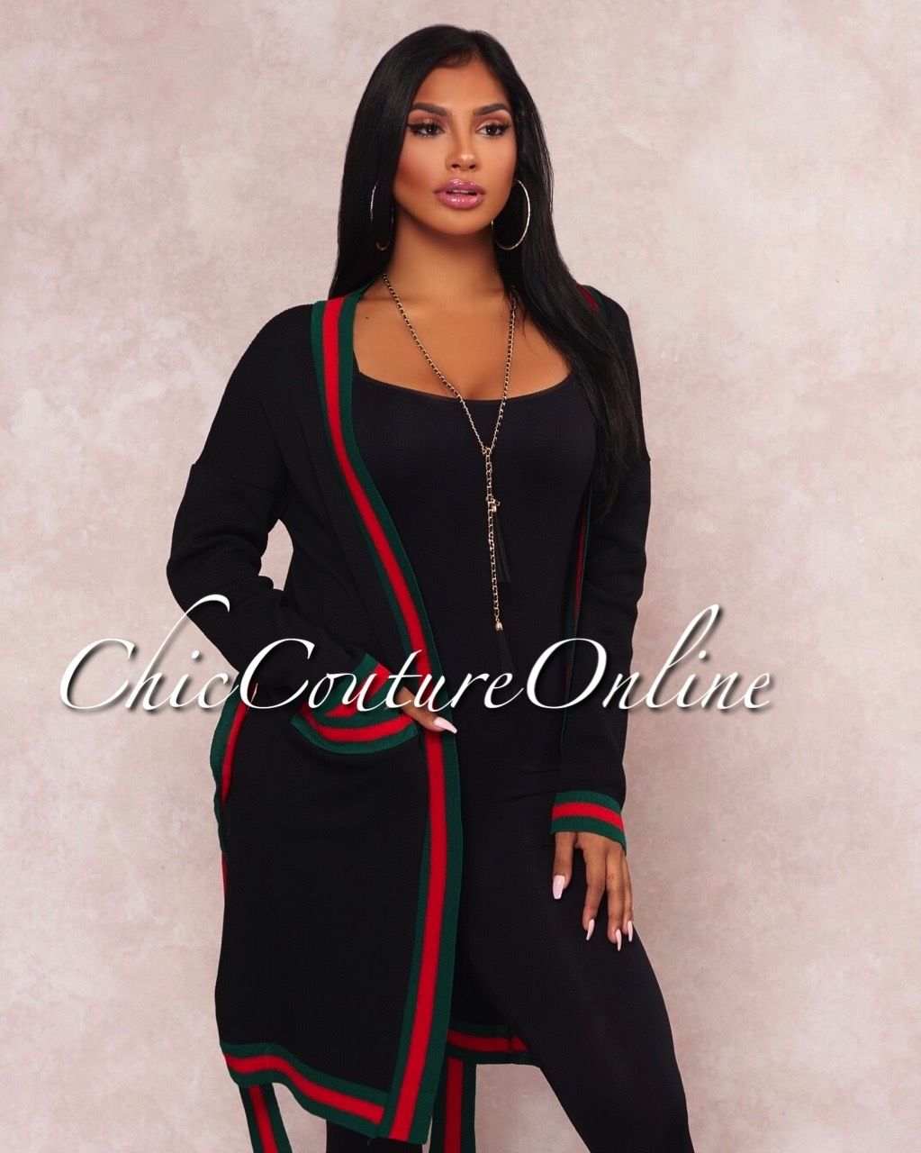 2e9c6427ac6 Stylish Clothes · Chic Couture Online - Caryss Black Embellished Belted  Cardigan