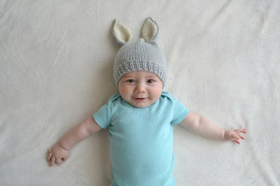 Bunny Hat - MADE TO ORDER - Gray, Cream and Gold - Spring Easter Bunny Hat - Boy or Girl