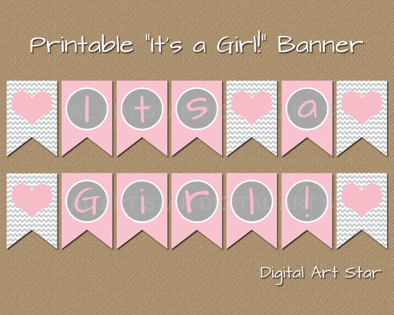 1565929a47f7 Printable Baby Shower Banner - DIY Its a Girl Banner - Pink Grey ...
