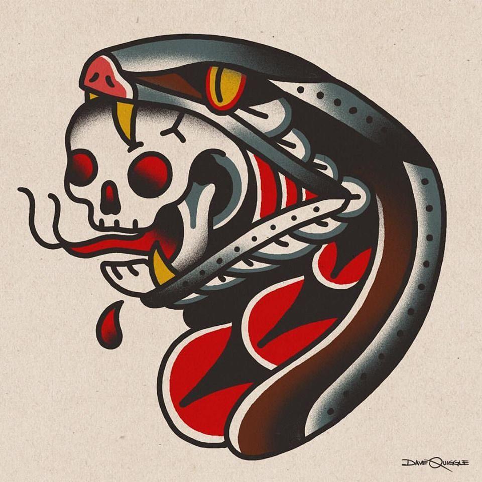 Snake And Skull Tattoo Old School Old School Tattoo Traditional Tattoo School Tattoo